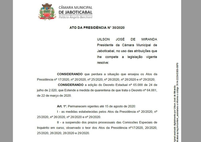 Câmara de Jaboticabal prorroga medidas de combate à propagação da COVID-19 até dia 15 de agosto