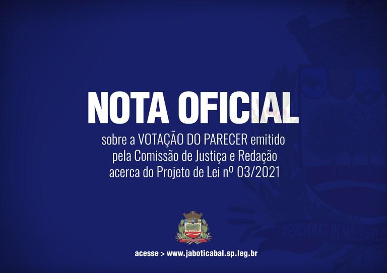 NOTA OFICIAL DA CÂMARA MUNICIPAL DE JABOTICABAL